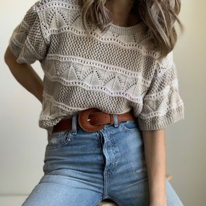 Vintage Oat Textured Knit Boxy Tee Pullover